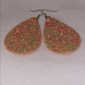 Jewelry - Peach Glitter Leather Drop Earrings 🧡